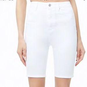 High Rise Denim Bermuda Shorts